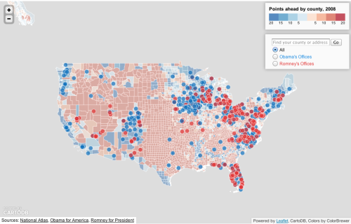 As of mid-October, the Obama campaign has 755 offices nationwide for its get-out-the-vote effort—nearly three times as many as the Romney campaign. Behold: the ground game!