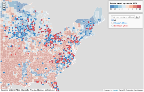 A closer look at the Northeast, where Obama & Romney campaigns are battling it out for supremacy in the ground game. That smattering of blue and red dots towards the center of the map illustrates the campaign offices in Ohio. To the right, there's Pennsylvania. South of that, North Carolina. But you already know that.