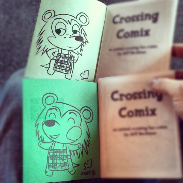Two more copies of CROSSING COMIX going out today. These ones get a drawing of the Able sisters, Sable and Mable. Buy CROSSING COMIX and other comics at http://healthfeud.bigcartel.com/ and for a dollar extra, I'll do a drawing inside the cover like these!