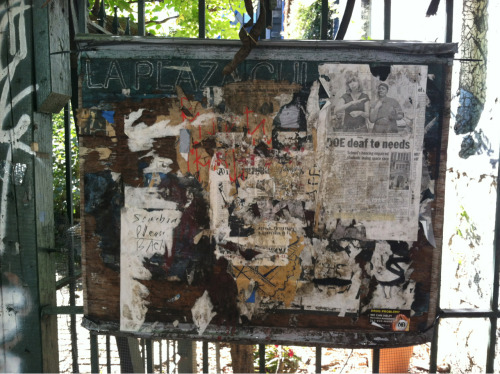 riotgrrrlproblems:  Community garden bulletin board, Alphabet City, NYC.