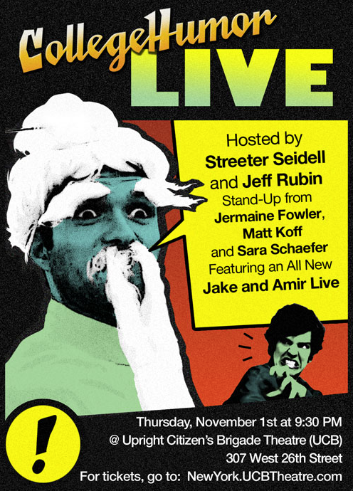 Next Thursday come hang out with us at the CH Live Show. Reserve tickets here. We have:  Double Hosts: Streeter Seidell & Jeff Rubin  + the hilarious stand-up of:  Jermaine Fowler, Matt Koff and Sara Schaefer  Oh and an ALL NEW JAKE AND AMIR LIVE! You won't want to miss it. [Ticket reservations]