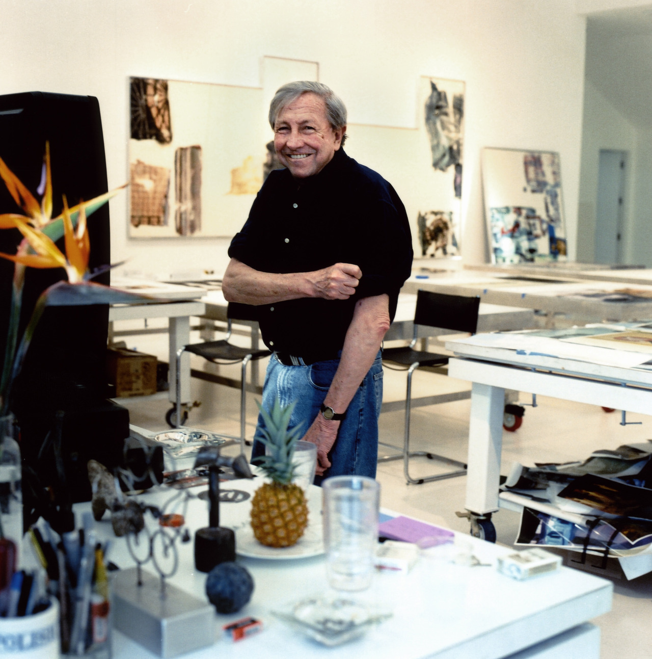 On the occasion of his birthday we remember the late Robert Rauschenberg, shown here in his studio.  The juxtaposition of different media he used and their interplay comprise Rauschenberg's chief interests, and throughout his career, his works have been marked by a sense of experimentation and chance. Photo Credits: © Estate of Robert Rauschenberg/Licensed by VAGA, New York, NY / Photo by: Ed Chappell, 1999