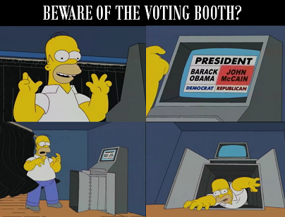 So you probably won't be sucked into your voting machine Homer Simpson style on Election Day, but the move towards electronic voting machines does not come without risk.As the first technologically integrated generation, how do you feel about E-Voting? LIKE = Electronic voting machines are safe to use & COMMENT = I'd rather have a paper ballot. For today's full translation, click here!