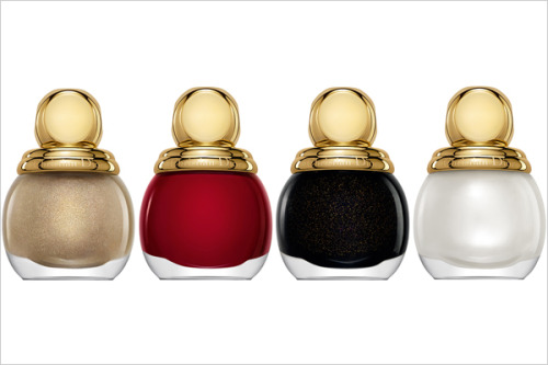 Bells are starting to ring when it comes to 2012 #Holiday #polish collections.  Take a look @Dior $ new shades in special round bottles from the Grand Bal Collection. #011 Lady, #751 Marilyn, #901 Diva & #207 Diorling