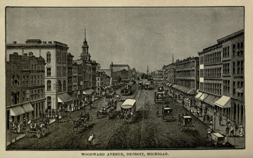 Engraved print showing city life in Detroit, along Woodward Avenue.  Circa late 19th century. From Peculiarities of American Cities, by Willard Glazier. 1883.