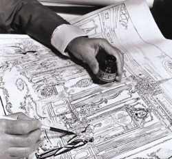 Cecil Beaton sketching