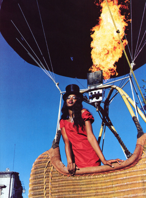 "Naomi Campbell in ""The Heat of the Moment"" photographed by Ellen von Unwerth for US Vogue, March 1998"