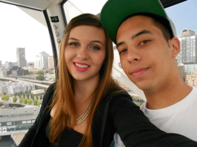 on top of the Seattle Great Wheel on our anniversary in August. :)