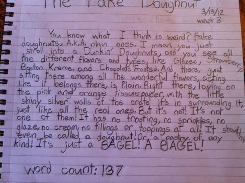 kodak-taught-me:  The world's greatest essay, written by a 12-year-old who really, really hates plain doughnuts.
