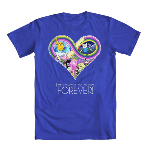 "adventuretime:  Forever stupid, but with a brilliant T-shirt. welovefineshirts:  Hey, adventurers! Another Adventure Time contest update: The honorable mention design ""Forever"" by Julia Wakuła is now available in mens' and womens' sizes! Tops blooby, dude! Browse all of our Adventure Time contest winners NOW at welovefine.com! Also, keep your eyes peeled on our Daily Deals this week, AT lovers… might have a few more in store for ya. ;)   I need this."