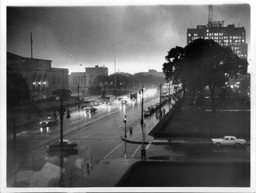 Corner of Woodward Avenue and Kirby, 1966. Taken from the Detroit Historical Museum with view of Detroit Institute of Arts, Horace H. Rackham Building, and Maccabee's Building.