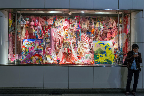 tokyo-fashion:  Crazy pink window display at Parco Shibuya. Apparently, this is an art installation by the Japanese artist Ai Madonna.