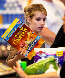 emma roberts purchasing honey nut cheeerios