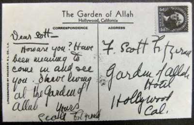 oldfilmsflicker:  F. Scott Fitzgerald sent himself a postcard once.