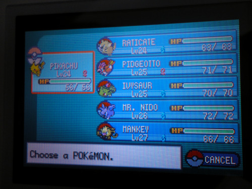 Pokedex: 19 Time: 6:16 Hrs Badges: 3 Location: Cerulean City Current Party: Lv24 Pikachu Lv24 Raticate Lv25 Pidgeotto Lv25 Ivysaur Lv26 Mr. Nido (Nidorino) Lv27 Mankey So I've manage to just beat Misty. Then trail blazed through to Vermillion City. Where I had to level grind a bit so I could eventually take on Sarge. During this time I swapped Pokemon with an NPC. I gave her my female Nidoran while I received the male counterpart. Basically Butterfree was giving me the shits unfortunately due to it's low stats but also due to it's really bad early moveset. So I swapped out Butterfree and leveled up Mr. Nido to an evolved Nidorino. I have a moonstone but I'll savor the moments I'll have where Mr. Nido is now. …and previously on my adventure (if you're interested).