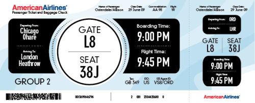 Airplane boarding pass re-dsign for my typography class.