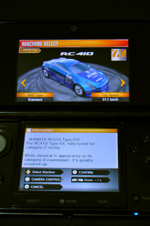 Favourite car of use atm in Namco's Ridge Racer 3D for the Nintendo 3DS. The name reminds me of the RCP90 machine gun from Goldeneye 64. Surprisingly enough, the revving sounds of the car's engine also resemble that of the RCP90. It's as if this car was designed to beat Russian cars!