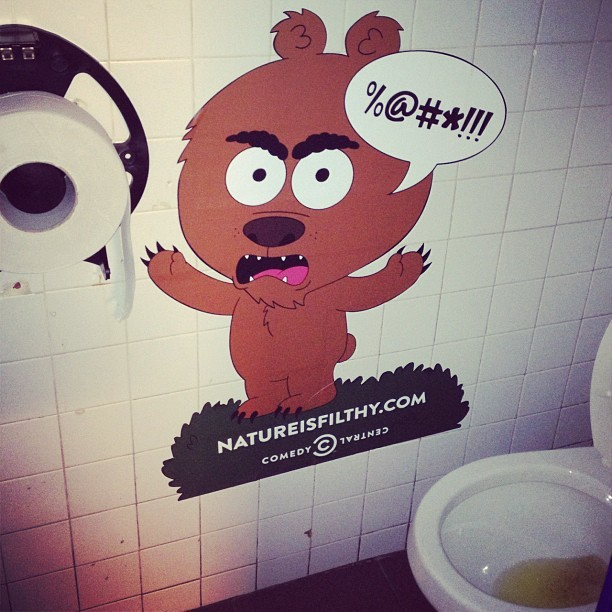 Comedy Central ad in a nasty bar bathroom. #marketing