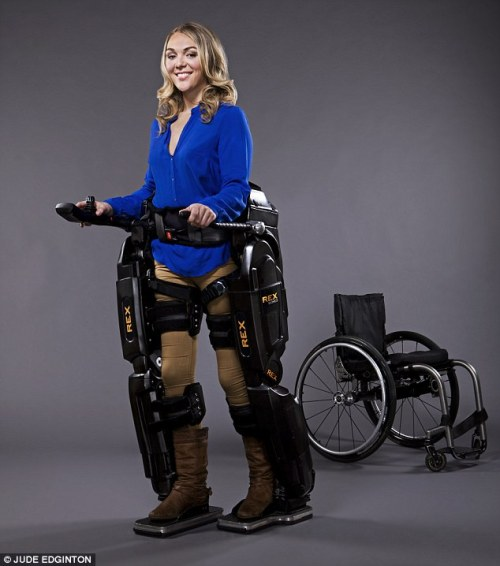 Powered exoskeletons – metal and carbon-fibre frameworks that encase part of the body – allow paralysed patients (even those who have no movement from the neck down) to walk. It is this technology that will, arguably, mark the end of the wheelchair. (dailymail.co.uk)