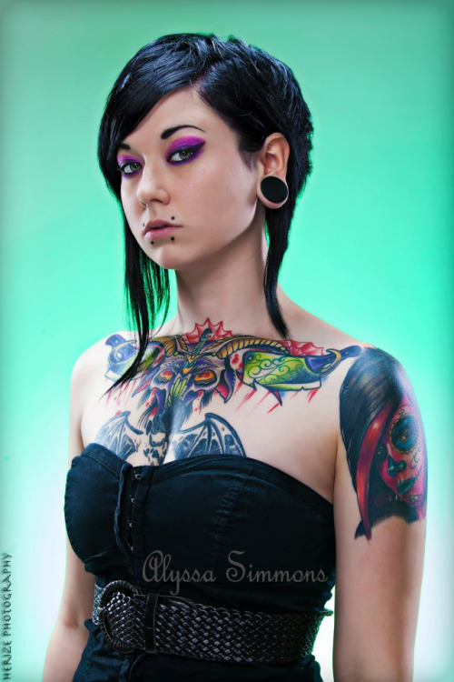fuckyeahtattoos:  This is Alyssa Simmons, a girl i went to school with. She won prom queen 2 years ago and then continued on to become a bad ass beauty queen with gorgeous tattoos! :) Most of her work was done at Brick House Studios, Houston Texas, by artist Sam Hudson.