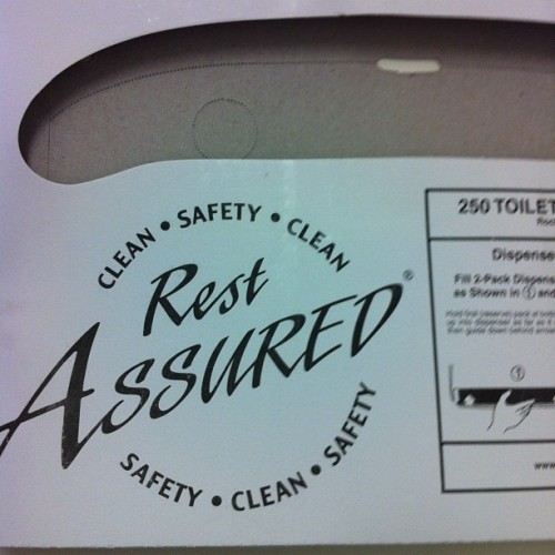 I am highly amused by the brand name of these toilet seat covers. #iam12