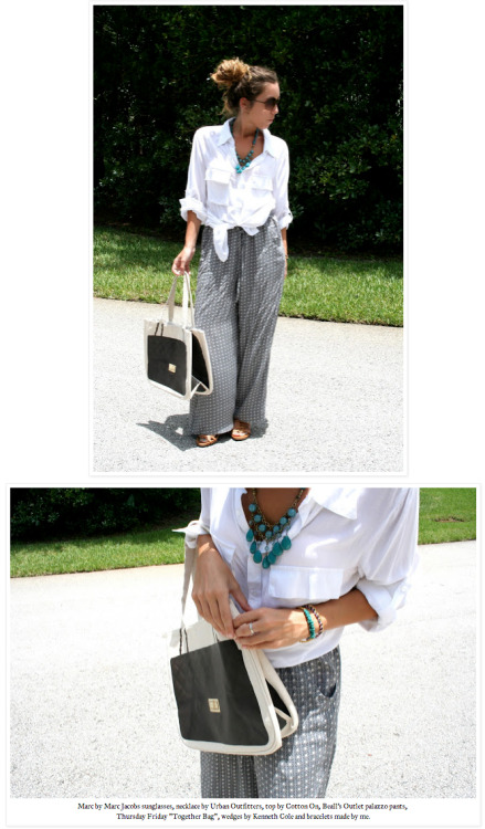 We love this effortlessly chic pairing of palazzo pants and our Diamonds Together bag in Charcoal.