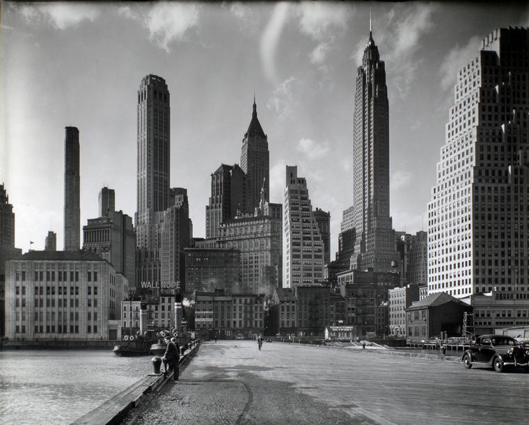 It's so…empty: Manhattan's skyline on March 26, 1936. One of the 800,000 digital files in the New York Public Library's free searchable archive.  Photo by Berenice Abbott.