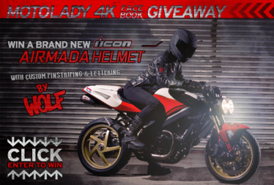 Click the pic, enter to win a custom painted Icon Airmada helmet.  For ALL the info you could need, check out the official contest page.