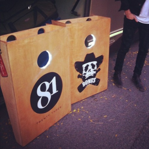 The Maines new custom 8123 and BONES corn hole sets for tour!! LED and Beer holders. Pretty sickkkk