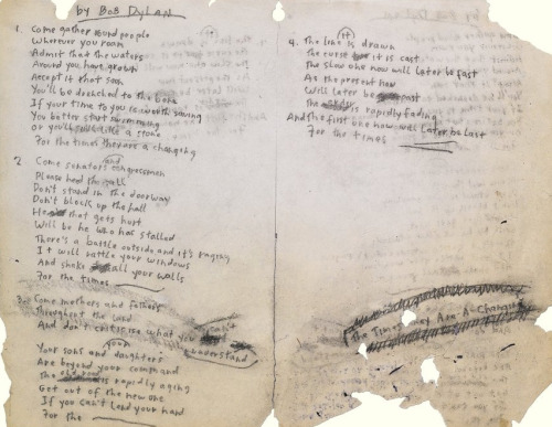 "Bob Dylan's original manuscript for ""The Times They Are a-Changin'"""