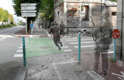 laughingsquid:  Ghosts of War, Then and Now Composite Photos of World War II