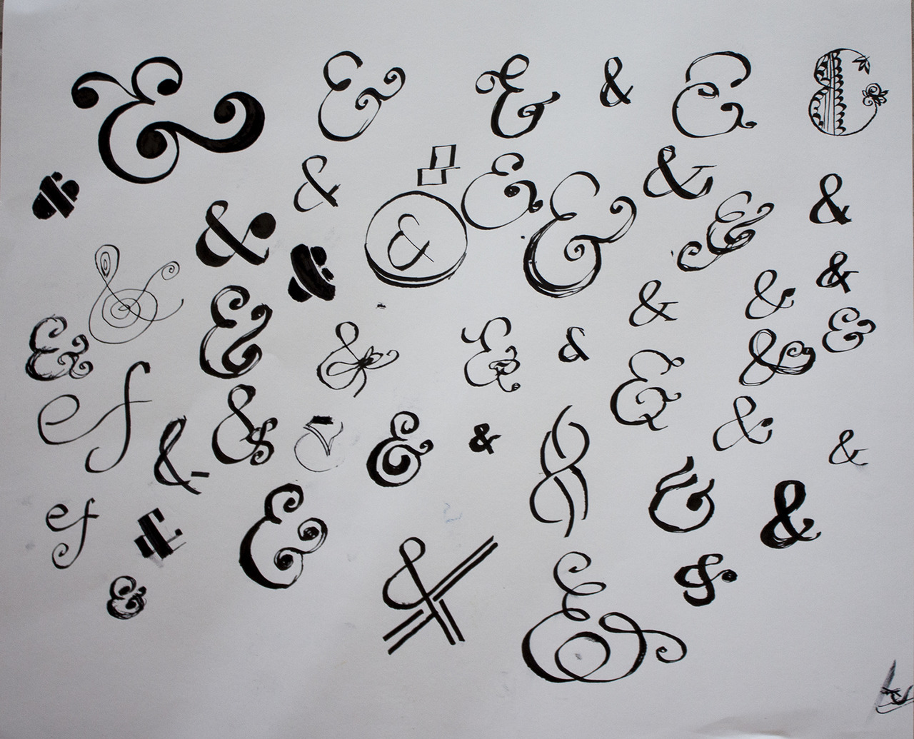 sketching some different ampersands—trying to pick the perfect one for a project!