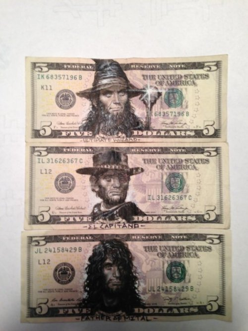 Abe Lincoln Money Art Masterpieces Start the bidding at fifteen dollars! (via)