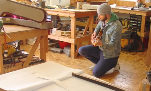 (via Video: See the guitar designed by Bon Iver out of a whiskey barrel) Justin Vernon recently took an opportunity to design a guitar with his old friend Master Luthier Gordy Bischoff. The white oak guitar titled 'The 1608′ was made out of a whiskey barrel. Watch the creation