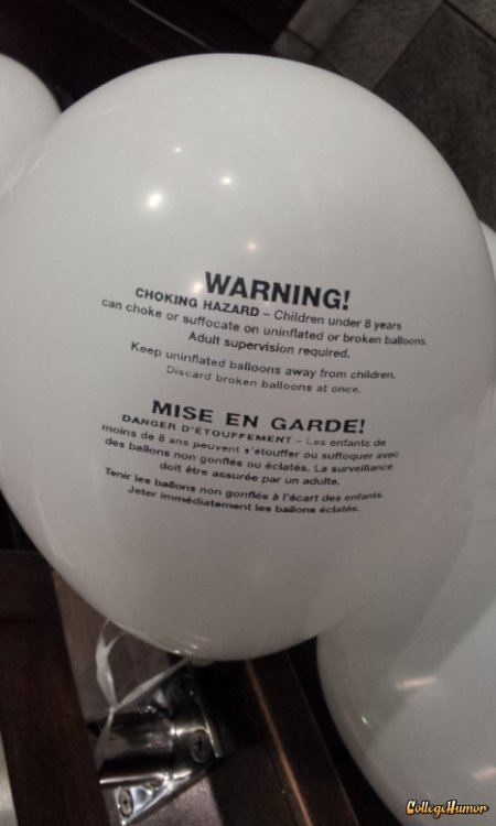 Depressing Balloon Has Warning Label Warning: your party sucks.