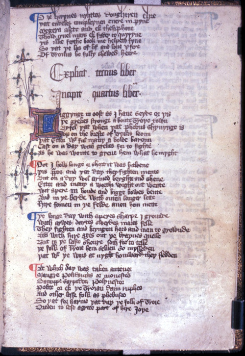 "Geoffrey Chaucer: Troilus and Criseyde  The first page of Book IV; from Troilus and Criseyde by Geoffrey Chaucer, England, 1st half of the 15th century,  British Library, Harley MS 2280, f. 57r.  Source/Quelle: British Library's Medieval and Earlier Manuscripts Blog  Note/Anmerkung: Chaucer's Troilus and Criseyde was inspired by Giovanni Boccaccio's Il filostrato: Chaucers Werk von Troilus und Cressida basierte auf Giovanni Boccaccios ""Il filostrato"": See/siehe: http://anonymea.tumblr.com/post/28572650195/ein-lesender-ritter-lesend-vorm-kaminfeuerchen http://anonymea.tumblr.com/post/10821146197/giovanni-boccaccio-il-filostrato-handschrift-um http://anonymea.tumblr.com/post/12563180903/codex-christian http://anonymea.tumblr.com/post/12562858582/codex-christianei-14-jahrhundert-ein http://anonymea.tumblr.com/post/11623067942/giovanni-boccaccio-il-filostrato-codex"
