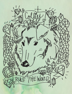 Collies Rule the World!  Experimenting with my new Bamboo tablet from my man <3 Will take a while to get used to drawing with it, but it's super fun to use!