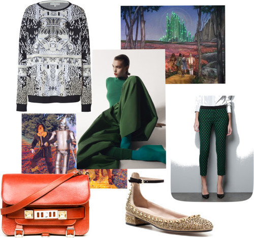 Emerald City  By Jenny Bahn This outfit has everything I like about what's going on in fashion right now: foot-friendly kitten heels, embroidered trousers, mix-and-match patterns, and Proenza Schouler's new bag, the PS11. Girls, it's time to look like ladies again. [Photos: Courtesy of Vigilant Citizen and Glen Luchford for Self Service Magazine]  Emerald City by jlbahn featuring pullover sweaters Mary Katrantzou pullover sweater / Zara capri pants / Zara ballet flat shoes / Proenza Schouler leather shoulder bag