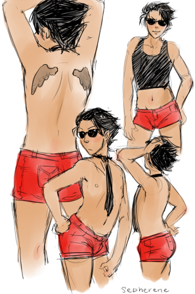 sepherene:  There was a reference going around on how to draw short shorts daisy dukes, so I used a willing participant as my subject A.Subject B was less pleased with his modelling job.