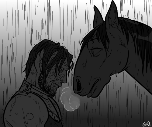chipperwhale:  I am so ready for sad grey scenes with Sandor and Arya strapped to Stranger's back.