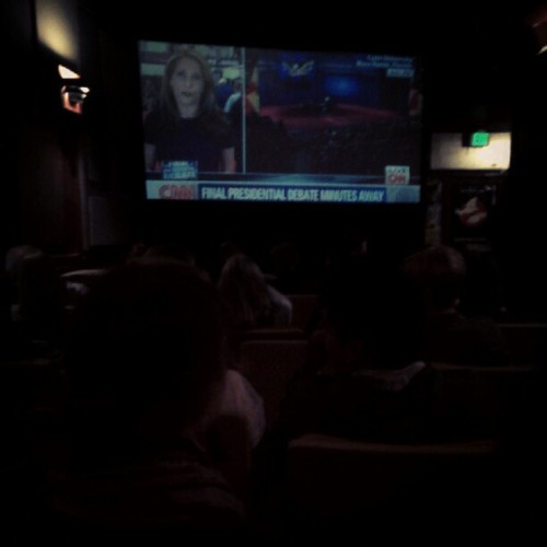 Third presidential debate, cinema-style. @JavierOgaz @ChrisJusell (at Lyric Cinema Cafe)