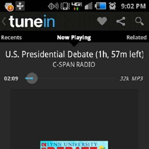 Driving home with the #debate on … say a #prayer for #obama to be strong. Good luck @barackobama!