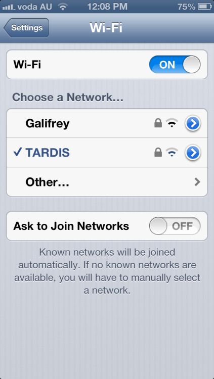 bangingtunesndjsets:  So I named my wifi TARDIS, and a few days later I see this….. Best. Neighbours. Ever.