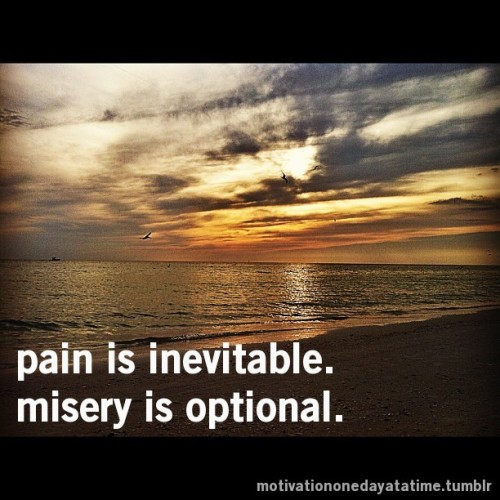 Pain is inevitable. Misery is optional.