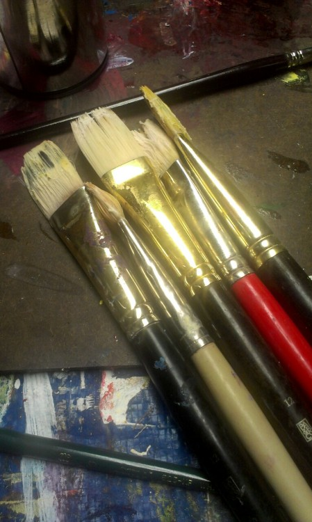 Dry paint on my brushes