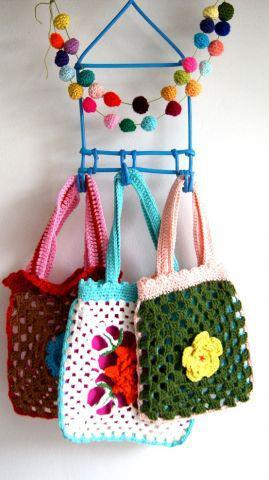 Crazy Cute - colours and stitch work.  luulla:  Make the cutest artsy crochet bag for your little girl! ♥