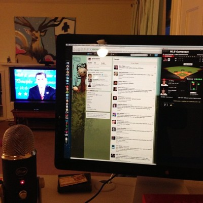 Debates twitter and NLCS game 7. While treaddesk walking. Beat that multitask.  (at Where The Wild Micah Roams)
