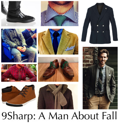 "A Man About Fall As the temperatures rapidly change here in NYC, I've noticed the stronger breeze and the welcomed cooler temperatures. While this means that it's time to put away the Vilebrequinn's and the Polos, it also means something else for you sartorial strategists, Fall is here, and with it some new rules for staying sharp.Colors - The summer brings out the best in baby blues, bright salmons, and a whole range of pastels. But, as the colors of the leaves change from bright green to rich reds, deep browns, and burnt umbers our wardrobe must adjust as well. Many ""Style Guys"" believe that fall is the season to keep it neutral with browns, tans, taupes, dark grey, and navy don't be afraid to pair these darker colors with a pop of those summer hues. Even though it's time to pull back out that charcoal suit, consider a knit forest green tie instead of the traditional silk navy. As long as you keep the ""outfit"" grounded feel free to step your game up a bit with details of bright contrast.Patterns - Herringbone is the traditional pattern of fall, the colors are usually right in line with the changing colors of the trees. This fall look a little bit deeper for houndstooth as well - its a strong pattern but pair it with a solid tie and it should look just right. Don't forget that gingham is here to stay, and as I mentioned above if you pair that sky blue gingham from the summer with a deep brown tie it's all set for fall. If strong patterns still feel a bit too sartorially strange, stay simple with horizontal striped shirts, but do not get too busy. I like to keep it one color, usually navy or gray. Additionally, contrast collars give your shirt a modern look that is set for any office. Grey shirts with white collars, white shirts with blue collars, and of course, blue shirts with white collars (the traditional banker).Cuts - The rule for cuts stays the same as always - make sure it fits, and make sure it fits well. That said, some styles - like the one button blazer - are made for summer, while others require the cooling temperatures of fall to fit in. The double-breasted suit has been on the rise again for a few seasons, and it doesn't look poised to back off now. Find a nice double-breasted suit and keep it slim to counteract the often boxy-look of the two button column. It's pretty standard to keep your double-breasted suits with a peak lapel, but it's not necessary - do what feels right. If that suit happens to be a three-piece, all the better. The third layer is good for warmth and a bit of style. But it doesn't have to be a full suit; you can find a nice ""contrasting"" vest and place it in no matter the suit. French cuffs are also welcome again in the office as the temperature drops and you won't need to roll up those sleeves. The root behind this all, don't be afraid to wear stronger details during fall and into winter.Layering - My final tips for adjusting your sartorial arsenal for fall is layering. An inquirer recently lamented the woes of putting together a sharp look only to cover it with a pea-coat or other large trench. I feel your pain. If you are going to wear a pea coat, update it this fall with a double barrel collar instead of the traditional double-breast (leave that for the suit). For the trench keep it inside except in the rain. Better yet, leave both coats inside - Fall is the perfect season for layering. Pair your suit with a nice down vest and large knit scarf to catch the eye or layer a waxed cotton jacket with a light wool sweater or cardigan to give your coat game some new pick-up lines. The good thing about wool…it tends to stay pretty similar year to year so pull out last year's wool knits for this one. And when it comes to shoes, layer those rainy days away with some sharply updated galoshes…these aint your grandpa'sThat's part 1 of being a Man about Fall, stay tuned for some top picks from this seasons fall collections.As always the time is now, so stay sharp and don't be late. Featured Items (Clockwise Top Left) Swimx x Armani - Galoshes The Tie Bar - Green Knit Tie Okana - Blue Pinstripes J. Crew - Chambray Tommy Hilfiger - Blue Tie Corduroy - Vintage Paul Smith - Green Laces Mercanti Fiorentini - Brown Captoes Grey Scarf - Knit Express - Sweater Hilfiger - Jacket Aldo - Hallinan Sneakers H&M - Plaid Shirt Ralph Lauren Vintage - Grey Knit Tie"