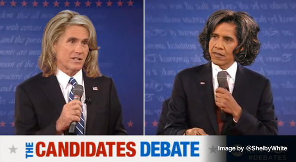 mentalalchemy:  freekicks:  If Romney and Obama switched hair with their wives. [x]  Obama's about to unleash some sass.