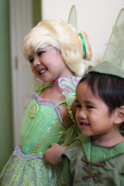 My baby sister & brother dressed up as Tinkerbell & Peter Pan !